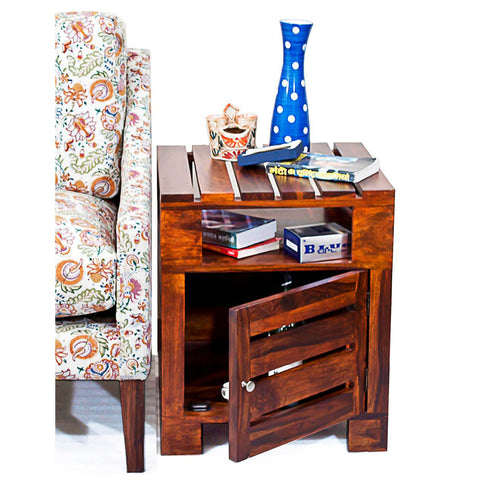 Daintree Sheesham Wood PLANKO Side Table Teak finish