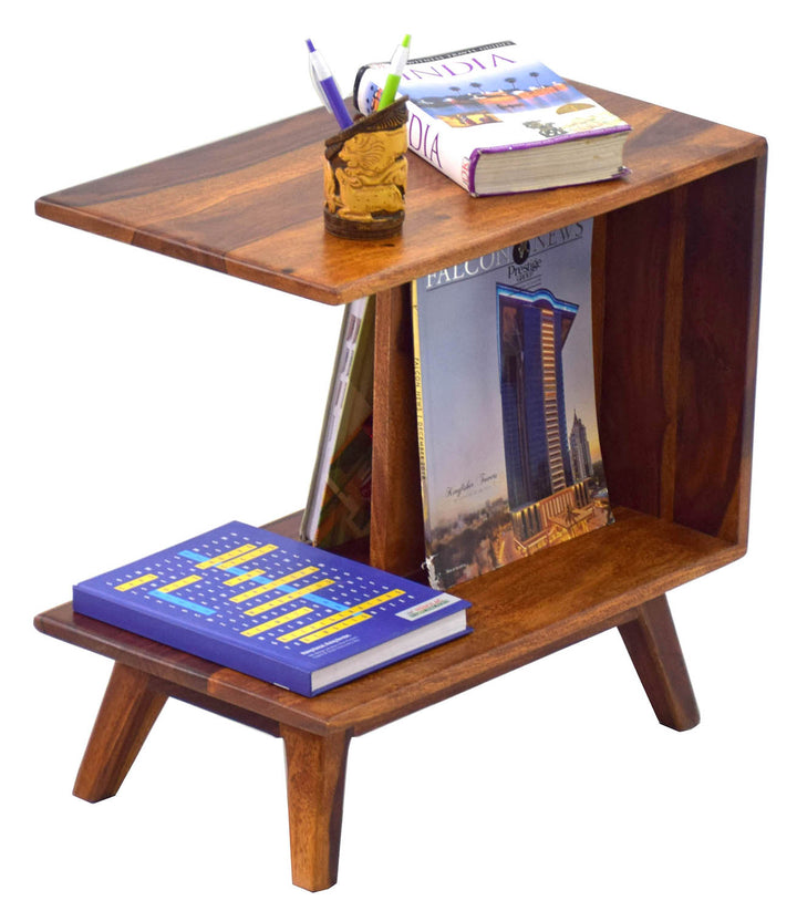 TimberTaste PORCH Solid Wood Side Table in Natural Teek And Dark Walnut Finish, corner table, end table, Printer table, accent table, solid wood table, telephone table, fish tank stand, wooden table, sofa table, bedside table,Teek Finish