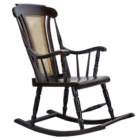 Daintree Teak Wood Solid And Smart ROCK CANE Chair Dark Walnut Finish.