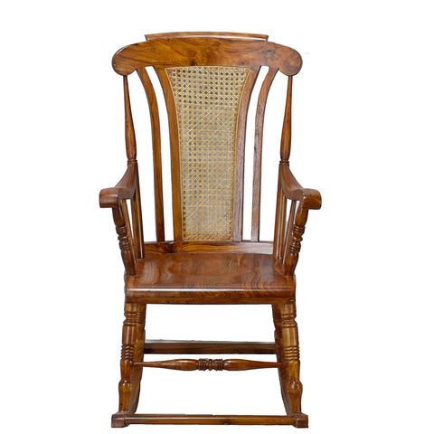 TimberTaste Teak Wood Solid And Smart ROCK CANE Chair Natural Teak Finish.