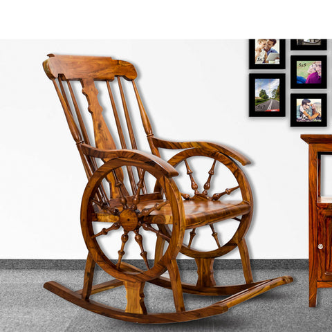 TimberTaste Teak Wood Smart ROCK CHK Rocking Chair Natural Teak Finish.