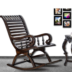 TimberTaste Teak Wood Smart ROCK STP Rocking Chair Dark Walnut Finished.