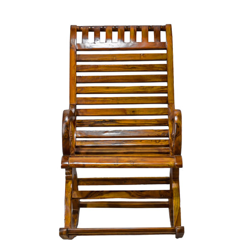TimberTaste Teak Wood Smart ROCK STP Rocking Chair Natural Teak Finished.