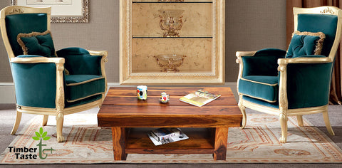 TimberTaste Sheesham Wood RONY Coffee Table Natural Teak finish.