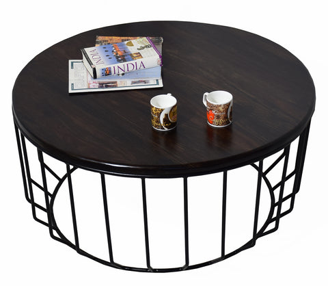 Timbertaste Sheesham Solid Wood ROUNDIRON with Wrought Iron Frame Dark Walnut Finish Coffee Center Table Teapoy