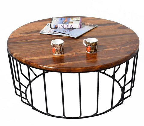 Timbertaste Sheesham Solid Wood ROUNDIRON with Wrought Iron Frame Natural Teak Finish Coffee Center Table Teapoy
