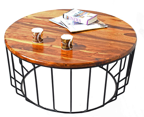 TimberTaste Sheesham Wood ROUNDIRON Natural Teak Finish Coffee Centre Table Teapoy, solid wood, fish tank stand, wooden table, multi-purpose cabinet