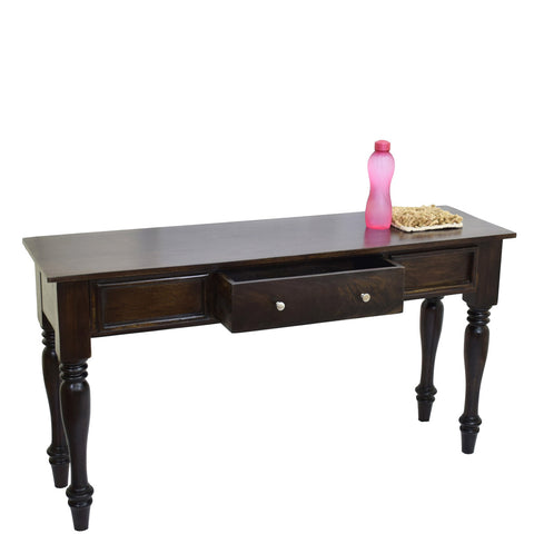 TimberTaste Sheesham Wood ROYAL Console Hall Writing Table Dark Walnut Finish.