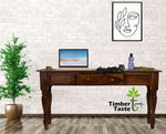 TimberTaste Sheesham Wood ROYAL Console Hall Writing Table Natural Teak Finish.