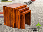 TimberTasteSheesham Wood SATIN Nest of Table (Set of 3) Natural Teak Finish