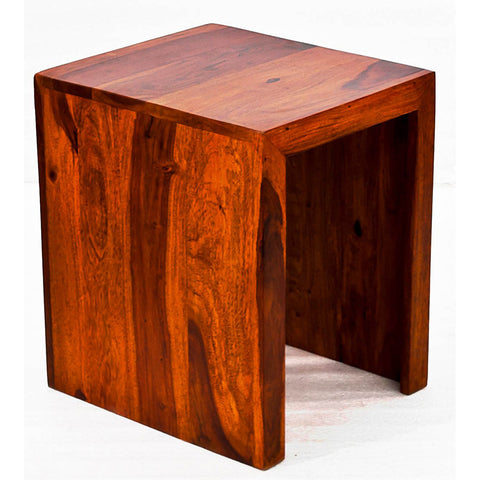 TimberTaste Sheesham Wood SMALL Size SATIN Side Table Natural Teak Finish