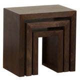 TimberTaste Sheesham Wood SATIN Nest of Table (Set of 3) Walnut Finish