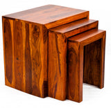 TimberTaste Sheesham Wood SATIN Nest of Table (Set of 3) Teak Finish