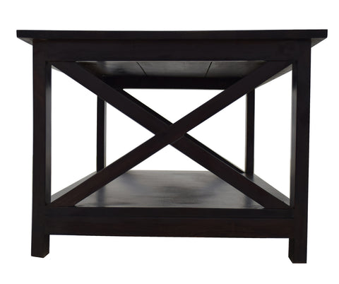 TimberTaste Sheesham Wood SCROSS Dark Walnut Finish Coffee Centre Table Teapoy, solid wood, fish tank stand, wooden table, multi-purpose cabinet