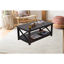 Timbertaste Sheesham Solid Wood SCROSS Dark Walnut Finish Coffee Center Table Teapoy