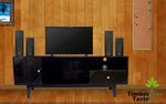 TimberTaste Solid Wood SHABY 1.45 Meter 1 Door 1 Draw TV Unit Cabinet (Dark Walnut)