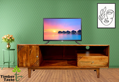 TimberTaste Solid Wood SHABY 1.45 Meter 1 Door 1 Draw TV Unit Cabinet (Teak Finish).