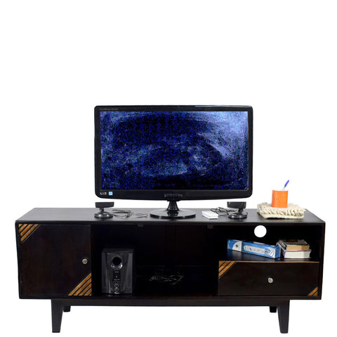 Daintree Solid Wood SHABY 1.45 Meter 1 Door 1 Draw TV Unit Cabinet Entertainment Stand (Two Tone Finish).