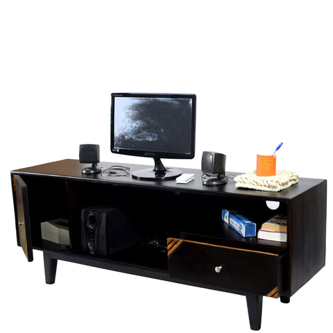 TimberTaste Solid Wood SHABY 1.45 Meter 1 Door 1 Draw TV Unit Cabinet Entertainment Stand (Two Tone Finish).