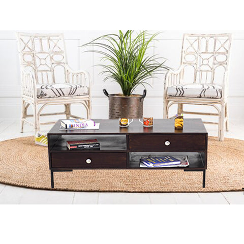 Timbertaste Sheesham Solid Wood SHALANI with Wrought Iron Legs Dark Walnut Finish Coffee Table
