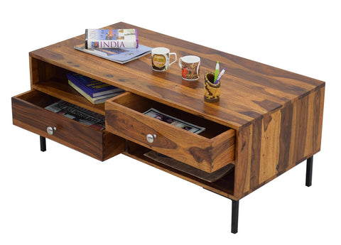 Timbertaste Sheesham Solid Wood SHALANI with Wrought Iorn Legs Natural Teak Finish Coffee Center Table Teapoy