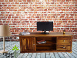 Timbertaste Sheesham Solid Wood SHENOY Natural Teak Finish TV Cabinet Entertainment Unit