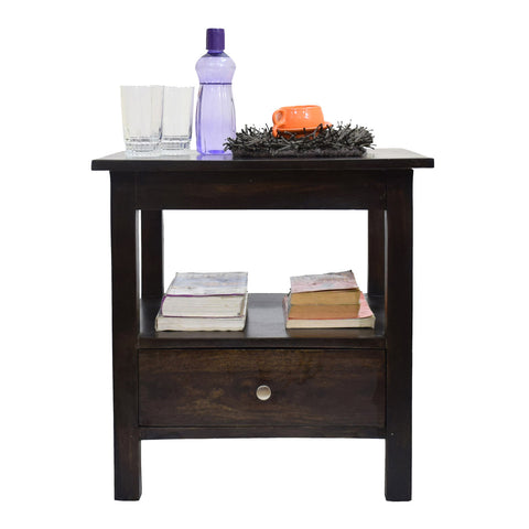 TimberTaste Sheesham Wood 1 Draw SIMPO Dark Walnut Finish Side End Corner Table