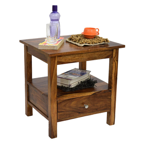 TimberTaste Sheesham Wood 1 Draw SIMPO NAtural Teak Finish Side End Corner Table