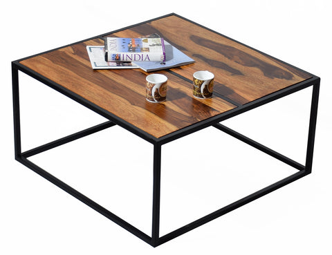 Timbertaste Sheesham Solid Wood with Wrought Iron Frame Simran Natural Teek Coffee Center Table Teapoy