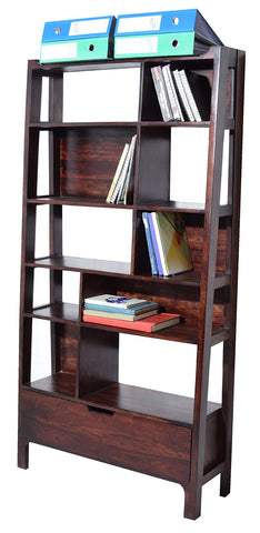 Timbertaste Sheesham Solid Wood SOHANA Dark Walnut Finish Bookcase Book Shelf Book Storage