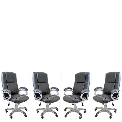 TimberTaste Daintree 04 Pieces of SOPHIA Black Directors, Executive, Boss, conference high back office chair (Set of 4).