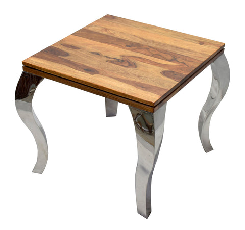TimberTaste SSLEG Solid Wood Side Table in Natural Teek And Dark Walnut Finish, corner table, end table, Printer table, accent table, solid wood table, telephone table, fish tank stand, wooden table, sofa table, bedside table,Teek Finish.
