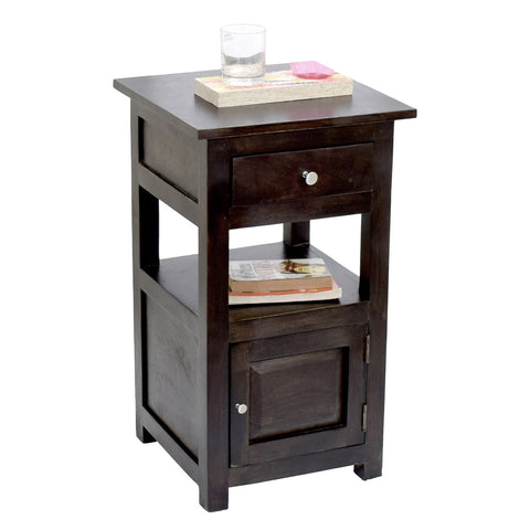 Daintree Sheesham Wood 1 Draw 1 Door TANYA Side End Corner Accent Table Dark Walnut Finish