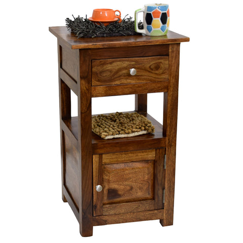 Daintree Sheesham Wood 1 Draw 1 Door TANYA Side End Corner Accent Table Natural Teak Finish