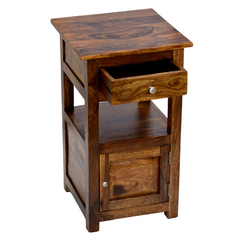 TimberTaste Sheesham Wood 1 Draw 1 Door TANYA Side End Corner Accent Table Natural Teak Finish