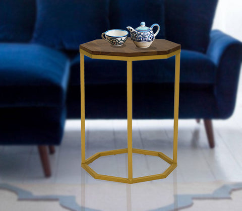 Timbertaste Solid Octagonal Sheesham Wood Top Golden Iron legs Arata Accent Side Table ( Provincial Teak)