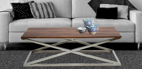 TimberTaste Solid Sheesham Wood Top Stainless Steel Base Gebi Coffee Table ( Provincial Teak) l Home Furniture| Living Room Furniture