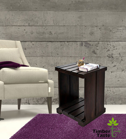 TimberTaste Sheesham Wood ULTRA Side Table Dark Walnut finish