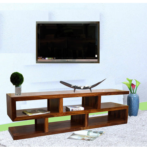 TimberTaste Sheesham Wood SLINE TV Cabinet Natural Teak finish