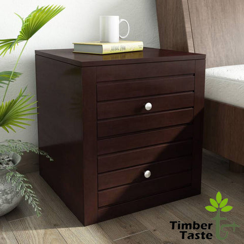 TimberTaste Sheesham Wood 2 Draw VEETO Dark Walnut Finish Side End Corner Accent Table