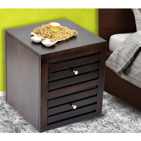 Daintree Sheesham Wood 2 Draw VEETO Dark Walnut Finish Side End Corner Accent Table