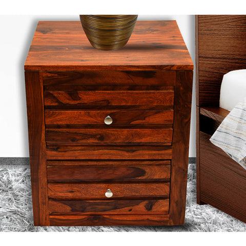 Daintree Sheesham Wood 2 Draw VEETO Natural Teak Finish Side End Corner Accent Table