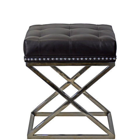 TimberTaste Pvc Vinayl Fabric Stainless Steel Stool Soft Cushioned Table.