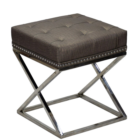 TimberTaste Pvc Vinayl Fabric Stainless Steel Stool Table Green Soft Cushioned.