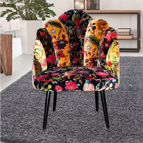 Peacock chair printed on micro velvet fabric.