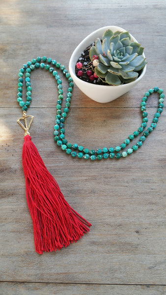 Limited Edition! Open Heart Warrior Faceted Natural Tibetan Turquoise Mini Mala