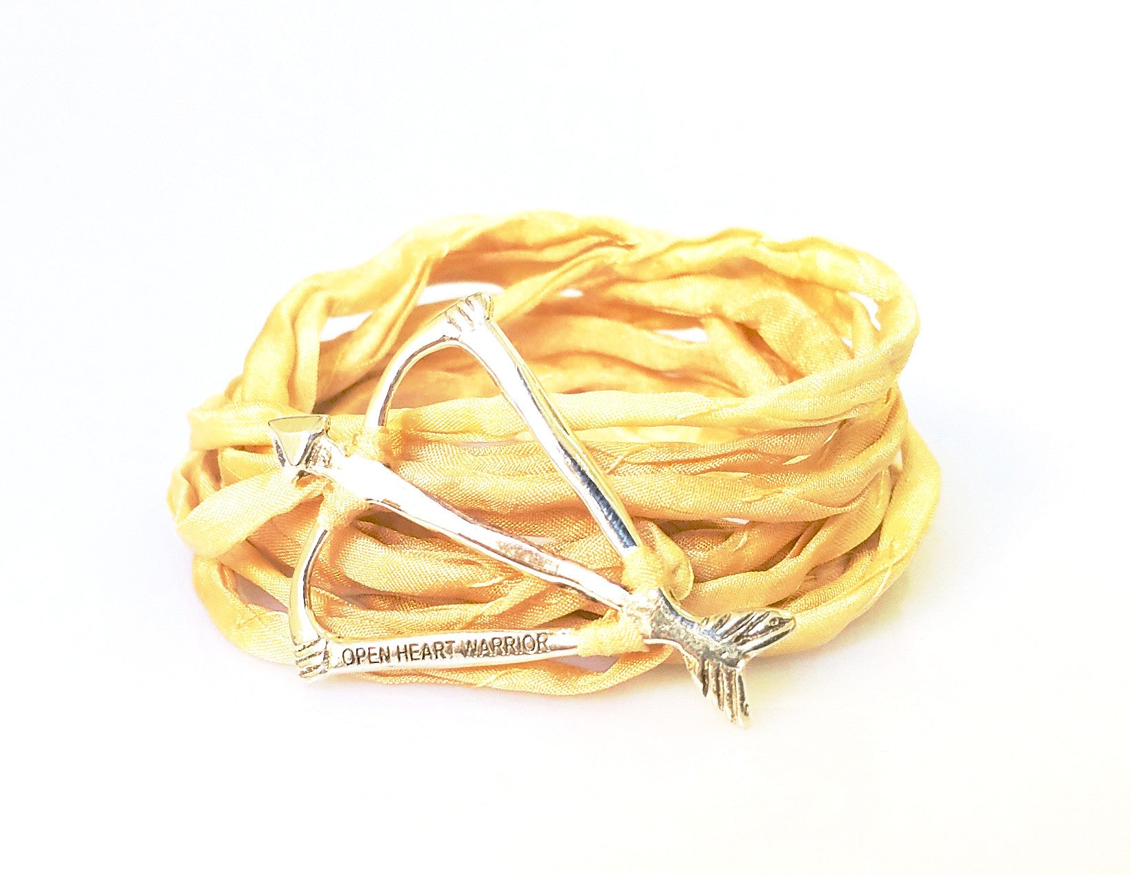 Open Heart Warrior Bow and Arrow Signature Natural Silk Wrap Bracelet