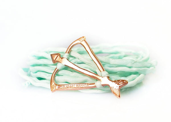 Open Heart Warrior Bow and Arrow Limited Edition Light Turquoise Silk Wrap Bracelet