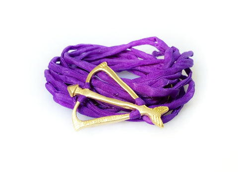 Open Heart Warrior Bow and Arrow Limited Edition Wild Violet Natural Silk Wrap Bracelet