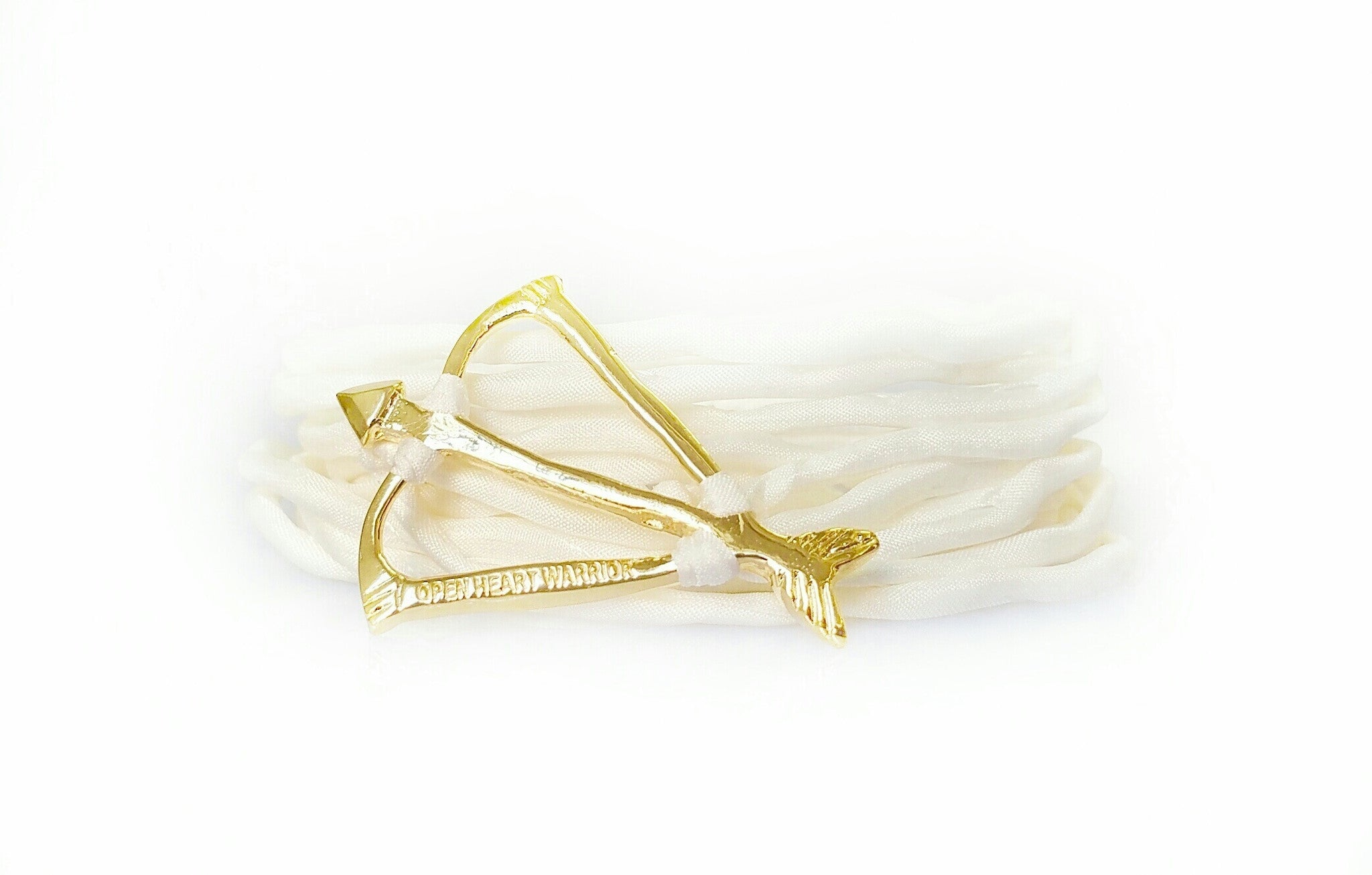 Open Heart Warrior Bow and Arrow Limited Edition White Silk Wrap Bracelet